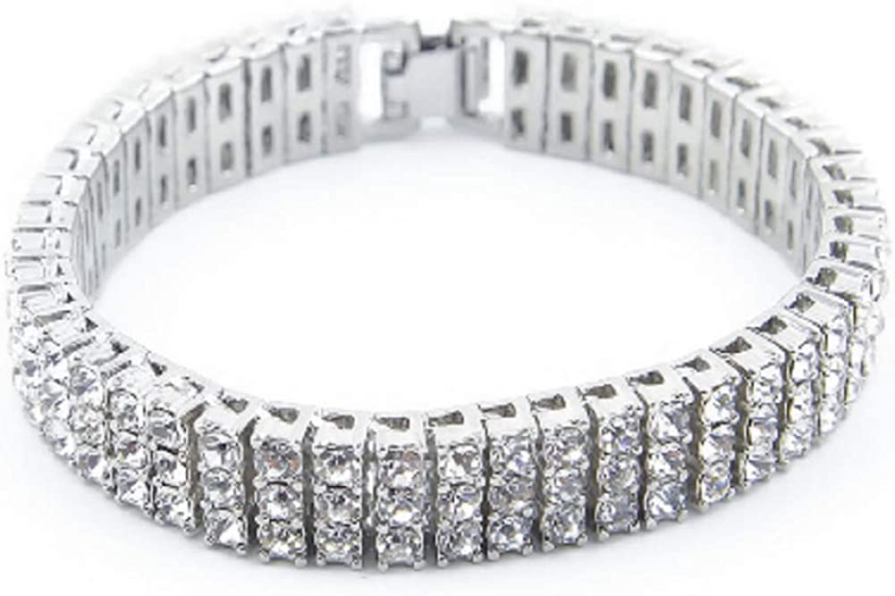 Starryinter 3 Rows 8-Inch Iced Rhinestone Manufacturer direct delivery Out Chain Tennis Excellence Men's