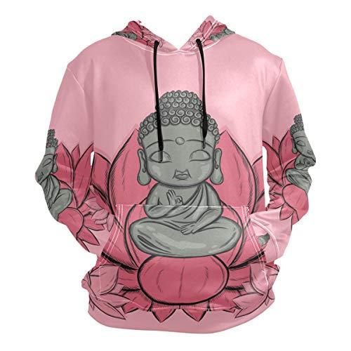 Flor De Loto Buda Sudadera con Capucha Sudaderas Deportivas con Estampado 3D Impresión Hoodie Sweatshirt para Niñas Niños Hombres (Tela Saludable)