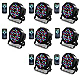 Kebert Par Lights, 36 X 1W RGB Led DJ Stage Lights with Remote Control Compatible with DMX, Sound Activated Stage Light, 9 Modes Par flood lights for Wedding Bar Party DJ Show - 8 Pack