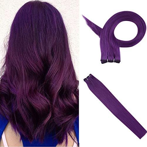 Tissage Bresilien Pourpre - Cheveux Lisse En Extension - Purple Weft Extensions Human Hair for Cosplay (1 Pcs: 14\