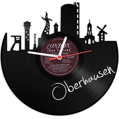 GRAVURZEILE Wanduhr aus Vinyl Schallplattenuhr Skyline Oberhausen Upcycling Design Uhr Wand-Deko Vintage-Uhr Wand-Dekoration Retro-Uhr Made in Germany