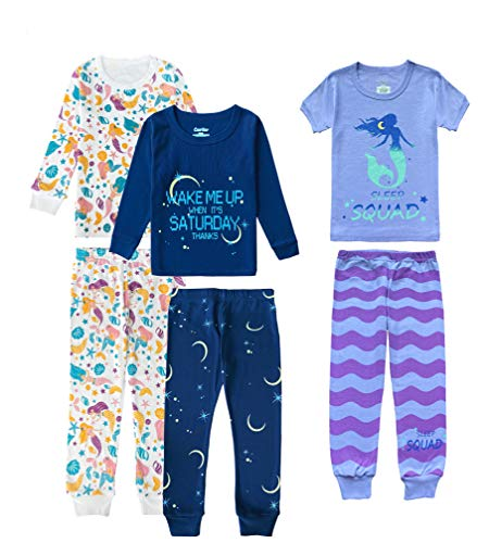 Cesriter Girls 6-Piece Pajamas Set Cotton Pjs