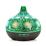 3D vetro fuochi d'artificio ultrasuoni olio essenziale diffusore aromaterapia, 400ml capacità umidificatore aroma con 7 colori cambiato LED Mood Light (base in legno scuro)