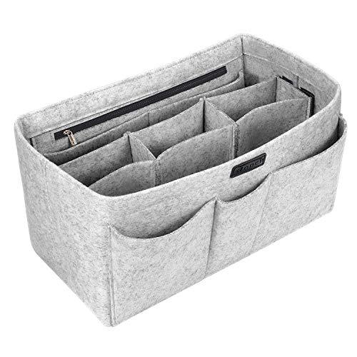 Ropch Taschenorganizer Filz Innentaschen für Handtaschen, Geldbeutel-Einsatz Reisetasche, Hellgrau - M