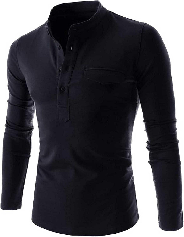 Men Cotton Shirts Henley V-Neck Long Sleeve Button Summer Lightweight Cotton Shirt Banded Collar Tops Slim Fit Blouse