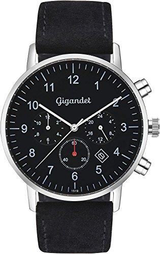 Gigandet herenhorloge minimalistisch dualtijdhorloge analoog met lederen armband G21-003