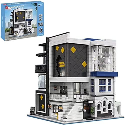 Mould King 16043 3536 Stück City Street View Creative Series, EIN Modernes Architekturmodell Mit Minimalistischer Kunstgalerie Und Beleuchtung, Kompatibel Mit Lego House