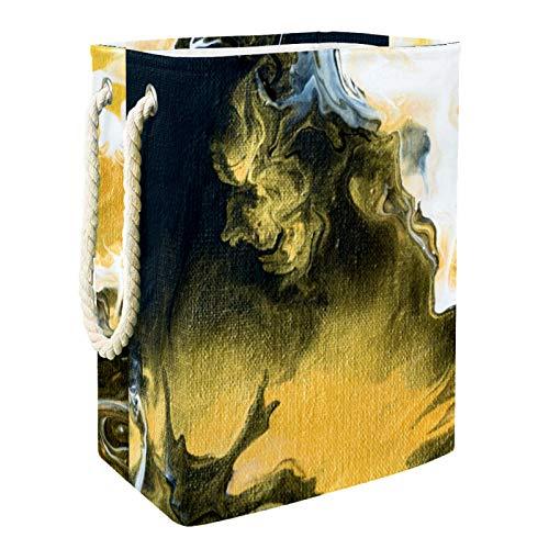 VFSS Cesta de la compra grande para la colada, cesta para la colada, bolsa para ropa, cubo de lavado, color amarillo, azul y blanco abstracto