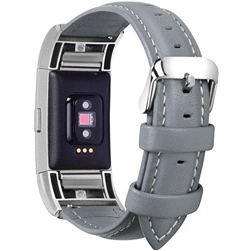 Fullmosa kompatibel mit Fitbit Charge 2 Armband für Damen und Herren,Leder Ersatz Uhrenarmbänder für Fitbit Charge2,Grau