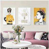 未来のファッション女性キャンバス絵画イエロージャケットレディウォールアートプリントモダンなリビングルームの壁の写真家の装飾60x90cmx3Pcsフレームレス