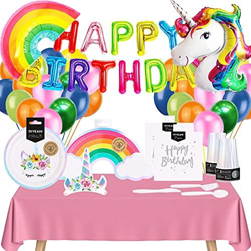 Pack Cumpleaños Unicornio Arcoíris Incluye Vajilla Desechable Unicornio y Decoración con Globos Multicolor para Cumpleaños Niña y Mujer