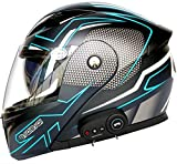 Bluetooth Integrado Casco De Moto Modular De Cara Completa Abatible Con Doble Visera Para Hombres Y Mujeres Adultos, Certificación ECE Casco Moto Integrales 5, L=(59~60CM)