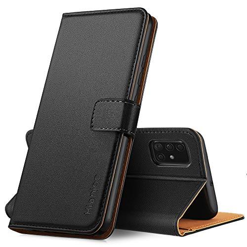 Hianjoo Hülle Kompatibel für Samsung Galaxy A51, Tasche Leder Flip Hülle Brieftasche Etui mit Kartenfach & Ständer Kompatibel für Samsung Galaxy A51, Schwarz