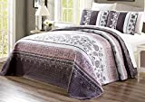 3-Piece Oversize (115' X 95') Fine Printed Prewashed Quilt Set Reversible Bedspread Coverlet King Size Bed Cover (Purple. Grey, Black, White, Floral)