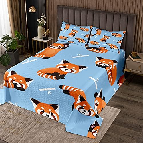 Loussiesd Rot Panda Tagesdeck 240x260cm Wohndecke Nettes Tiermuster Bettüberwurf für Kinder Jungen Mädchen Panda Bedrucktes Tagesdeck Wildlife Stil Steppdecke Kinderzimmer Dekor 3St Blau