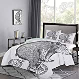 UNOSEKS LANZON - Juego de edredón para niños, diseño de oso de circo en una bicicleta, diseño de dibujo de monocromo divertido de animales con cremallera oculta, color gris y blanco, tamaño doble