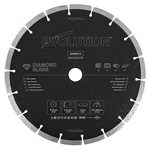 Evolution 10 Inch Diamond Blade with Segmented Edge, 1 In Bore, Concrete, Stone, Brick Cutting Diamond Blade