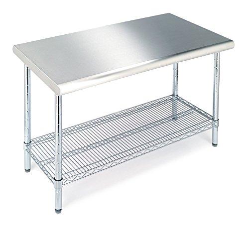 Seville Classics Mesa de trabajo de grado comercial de acero inoxidable estante de alambre de cocina certificado NSF, 49 pulgadas de ancho x 24 pulgadas de profundidad x 35 pulgadas de alto, cromo
