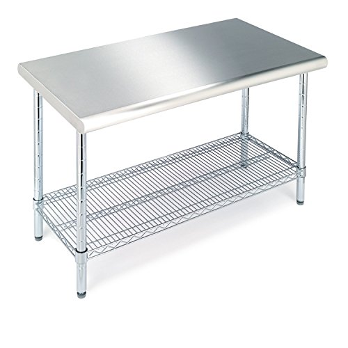 "Seville Classics Stainless Commercial-Grade Work Table Steel Wire Shelf Kitchen NSF-Certified Storage, 49"" W x 24"" D x 35.5"" H, Chrome"