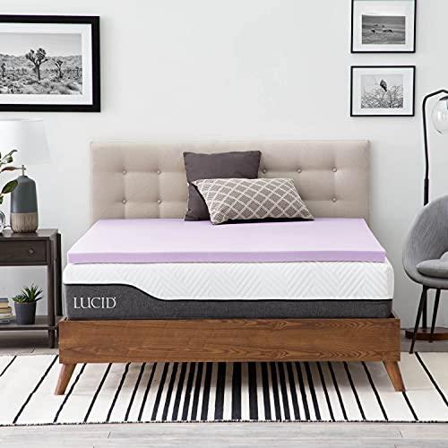 LUCID 2 Inch Lavender Infused Memory Foam Mattress Topper-Ventilated Design-Full Size