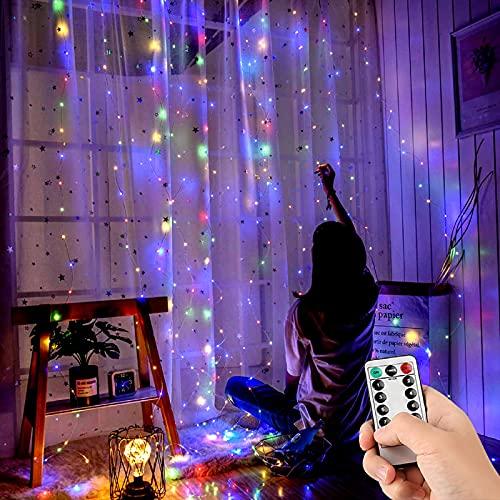 Luces de Cadena de Cortina, Leytn Cortina de Luces Navidad de 3 m x 3 m, USB Cortina Luces con 300 LED & 8 Modos con Mando a Distancia, Impermeable Luz de Cortina para Halloween, Boda, Party