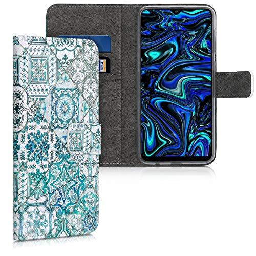 kwmobile Carcasa Compatible con Samsung Galaxy A10 - Funda de Cuero sintético Azulejos Cuadrados - con Tarjetero