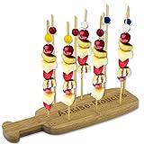 BAKAJI Vassoio Spiedini Tapas in Legno Bamboo Set con 10 Spiedi per Aperitivo Finger Food Party Dimensione 24 x 8 cm Colore Bamboo Naturale