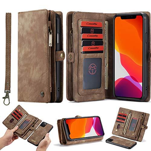 HATA iPhone 11 Leder Schutzhülle Geldbörse mit Abnehmbare Magnetverschluss Handyhülle Vielen Fächern 11 Kartenfächer Reißverschluss Münzfach iPhone 11 Filp Tasche Geldbeutel (iPhone 11, Brown)