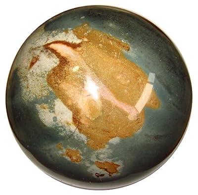 Satin Crystals Polychrome Picture Jasper Sphere Healing Crystal Ball Big Desert Gazing Stone Earth Energy Orb C16 (4.3 Inch)