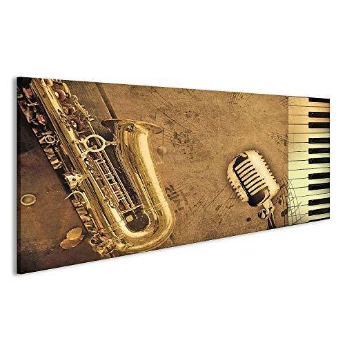 bilderfelix® Acrylglasbild Sepia Saxophon Klavier Musik Glasbild Wandbild auf Glas