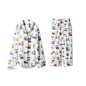 Gelato Pique × PEANUTS ジェラート ピケ スヌーピー コラボ ネルシャツ ネルロングパンツ 上下セット (ホワイト)