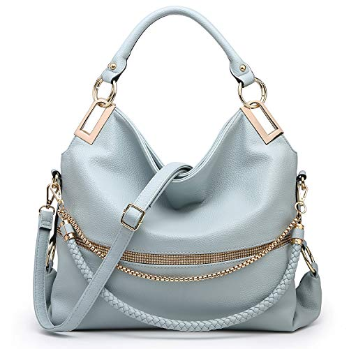 Dasein Hobo Bags for Women Soft Faux Leather Purses and Handbags Large Hobo Purse Shoulder Bag with Rhinestones (Light Blue)