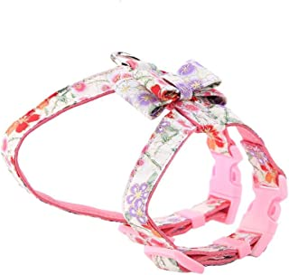 HEEPDD Adjustable Dog Harness, Pet Cats Soft Fabrics Bow Tie Vest Strap Lead Walking Leash Denim Jacket with Bowknot for Kitty Puppy Small Dogs Animal