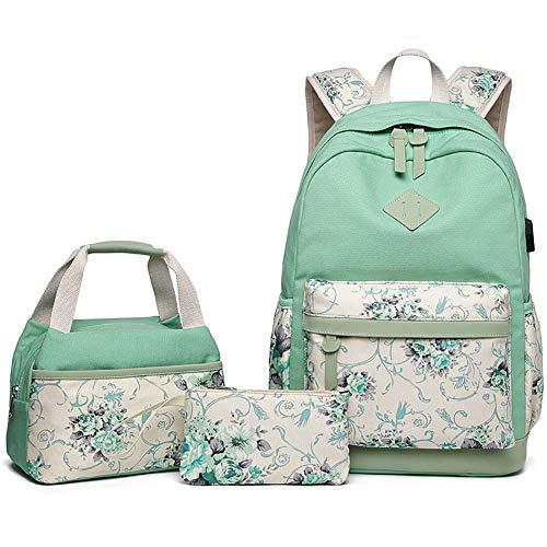 FVAL Mochila Escolar Impermeable Raya Moderna para Chicas-Mochila Informal para Mochila Escolar de Oficina Universitaria- Backpack Canvas Casual + Bolsa del Almuerzo + Monedero Grande 3pcs - Verde