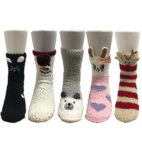 Z-Chen Pack de 5 pares de calcetines para dormir Mujer Té