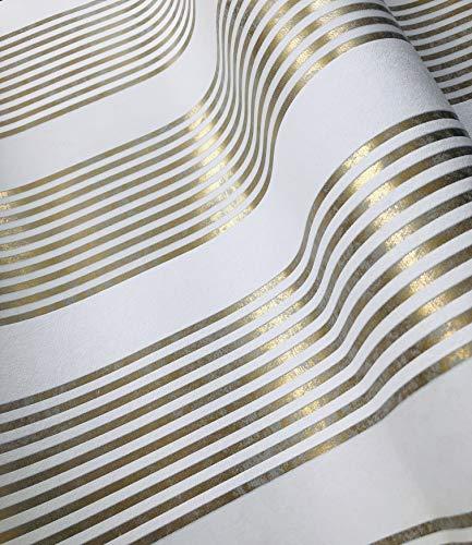 Tapete Gold Weiß - Streifen - Modern, Klassisch, Opulent - für Schlafzimmer, Wohnzimmer oder Küche - 10,05m x 0,53m - Made in Germany