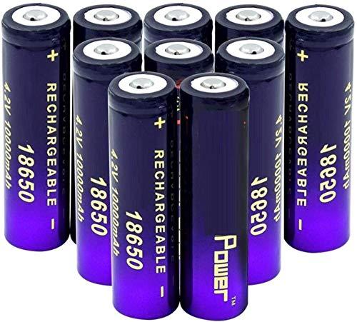 18650 Batería De Iones De Litio De 3 7 v 10000 Mah BateríAs De Botón Superior Pilas De Repuesto De Radio De Banco De Energía De Antorcha-10pieces