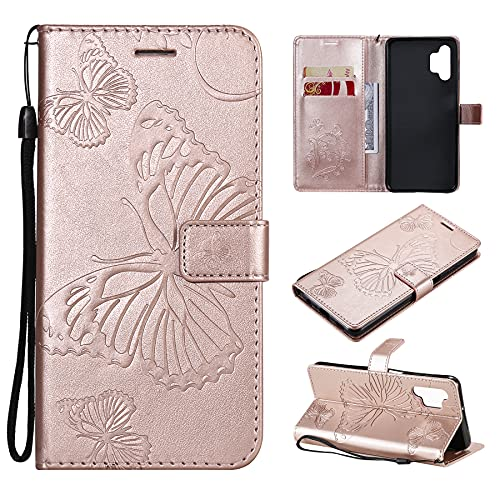 SMYTU Custodia per Samsung Galaxy A32 5G,Cover a Libro Samsung Galaxy A32 5G,Custodia Flip in Pelle Magnetica Portafoglio per Samsung Galaxy A32 5G (B-Goldrose)