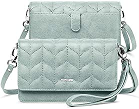 nuoku Women Small Crossbody Bag Cellphone Purse Wallet with RFID Card Slots 2 Strap Wristlet(M Size Green)