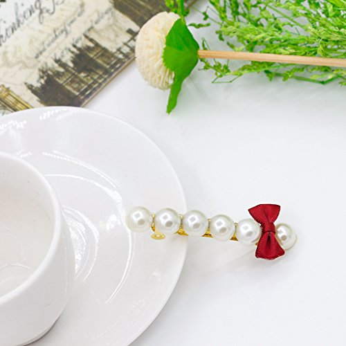 RENYZ.ZKHN Butterfly Knot pin Small Fresh Bow Tie pin A Word Pearl pin Simple Ornament Small Fresh pin, Pearl pin,Wine Red 3195