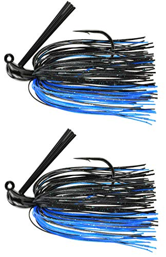 Last Cast Tackle 3/8-1oz Tunsten Bass Flipping Jig - 2 Pack - 4 Colors & 4 Weights to Choose from (Black Blue, 3/4oz)