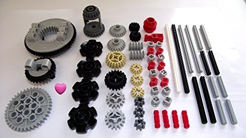 LEGO TECHNIC 60 Piezas de Engranajes, Ejes y Juego de tapón. Dado un corazón