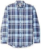 Amazon Essentials - Camisa regular de lino a cuadros con manga larga para hombre, Azul marino a cuadros, US XS (EU XS)