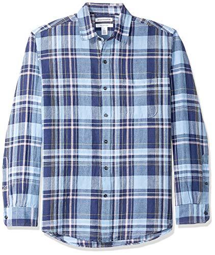 Amazon Essentials Chemise À Manches Longues en Lin et Coton. button-down-shirts, Motif Carreaux Bleu Marine, L
