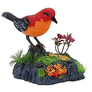 Homeng Electronic Bird Singing Chirping Birds juguete, Chirping Dancing Bird con sensor de movimiento activación, cantando Chirping Birds Juguete, plástico, A3, 14cm x 16cm