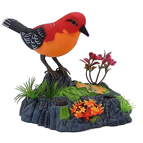 Sprechender Papagei, elektronisch, sprechend, wiederholt Papagei, singt und umreißt Sittiche, Vogel mit Bewegungssensor, Aktivierung, Aussprache, elektrische Haustiere, plastik, rot, 14cm x 16cm