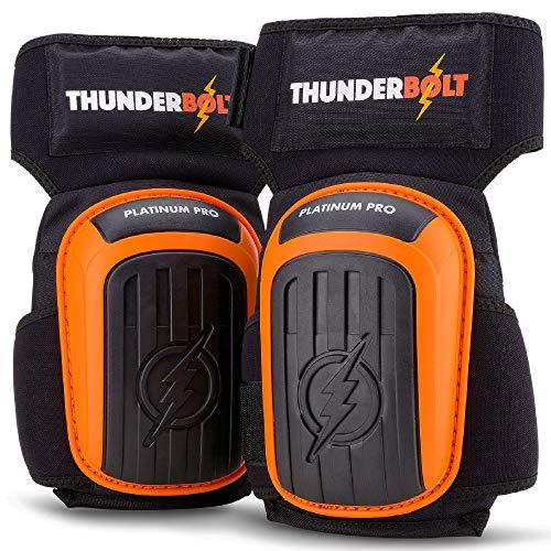 Knieschoner von Thunderbolt® Professional Knieschützer Komfortabel Gelkissen-Knieschützer für Arbeit, Bau, Bodenbeläge, Gartenarbeiten mit starken Antirutschgurten