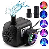 ZMLM Fountain Pump 220 GPH, Submersible Water Pumps (800L/H, 15W), Ultra Quiet Water Pump With12 LED Colorful...