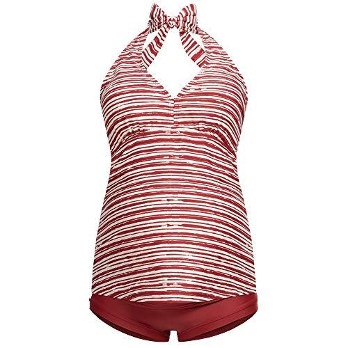 Herzmutter Umstands-Tankini-Neckholder - Schwangerschafts-Bademode - Zweiteiler-Badeanzug für Schwangere - Überbauchhose-Panty - Streifen-Muster-Uni - UV-Schutz 50-7100 (Gestreift, XL)