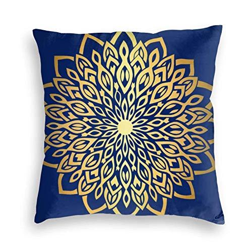 Funda de cojín Funda de Almohada Mandala dorada, azul marino, decorativo para sofá, sofá, dormitorio, sala de estar, decoración Cojines 45X45CM